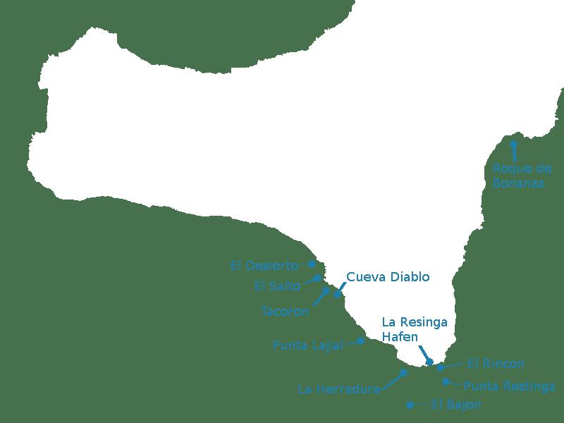 Tauchplätze El Hierro tauchen la restinga mar de las calmas karte marine reservat